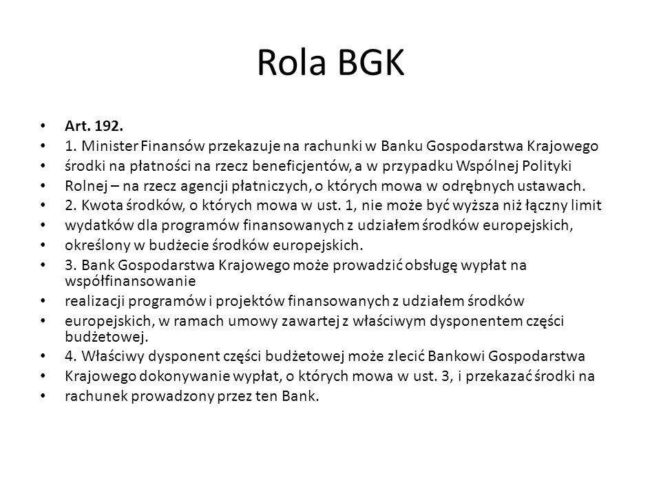 Rola BGK Art. 192. 1. Minister Finansów przekazuje na rachunki w Banku Gospodarstwa Krajowego środki na płatności na rzecz beneficjentów, a w przypadk