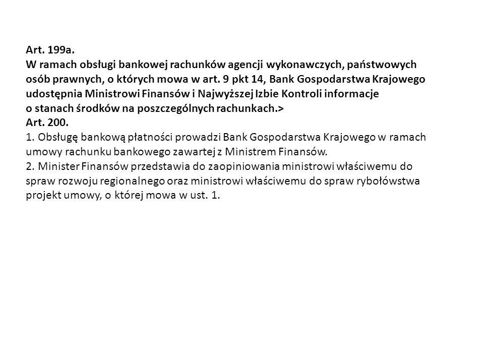 Art. 199a. W ramach obsługi bankowej rachunków agencji wykonawczych, państwowych osób prawnych, o których mowa w art. 9 pkt 14, Bank Gospodarstwa Kraj