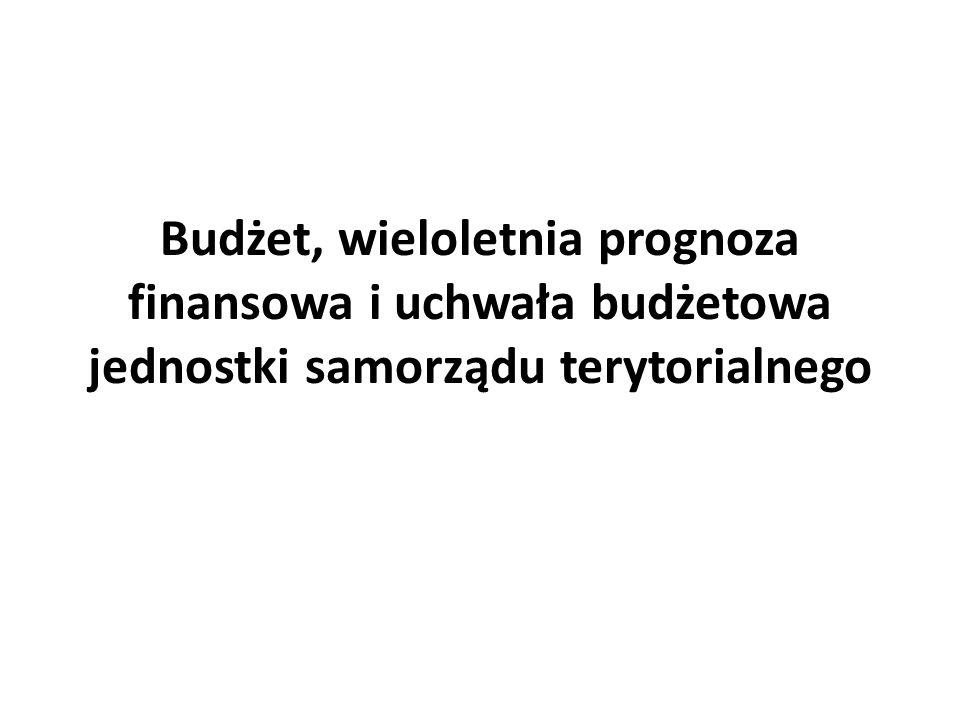 Budżet, wieloletnia prognoza finansowa i uchwała budżetowa jednostki samorządu terytorialnego
