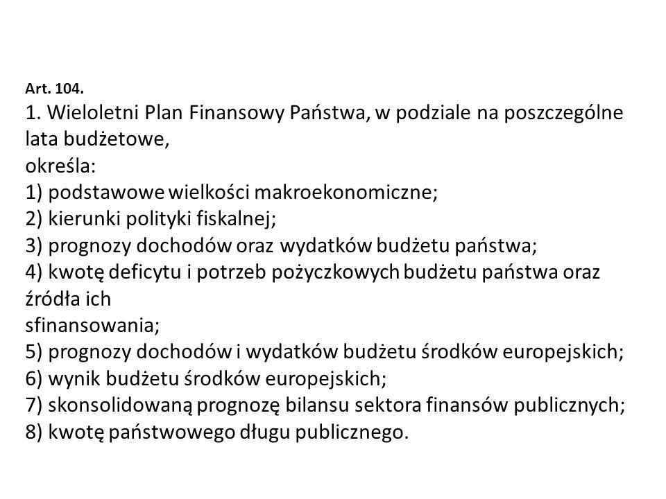 Art. 104. 1. Wieloletni Plan Finansowy Państwa, w podziale na poszczególne lata budżetowe, określa: 1) podstawowe wielkości makroekonomiczne; 2) kieru