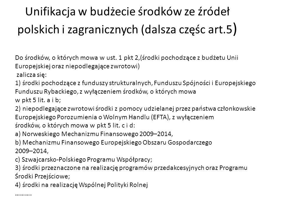 Do środków, o których mowa w ust. 1 pkt 2,(środki pochodzące z budżetu Unii Europejskiej oraz niepodlegające zwrotowi) zalicza się: 1) środki pochodzą