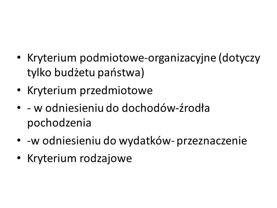 Kryterium podmiotowe-organizacyjne (dotyczy tylko budżetu państwa) Kryterium przedmiotowe - w odniesieniu do dochodów-źrodła pochodzenia -w odniesieniu do wydatków- przeznaczenie Kryterium rodzajowe