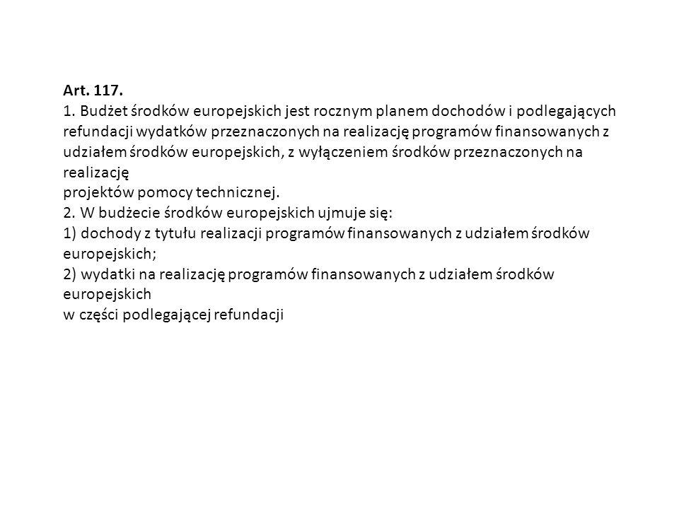 Art. 117. 1. Budżet środków europejskich jest rocznym planem dochodów i podlegających refundacji wydatków przeznaczonych na realizację programów finan