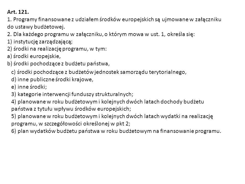 Art. 121. 1. Programy finansowane z udziałem środków europejskich są ujmowane w załączniku do ustawy budżetowej. 2. Dla każdego programu w załączniku,