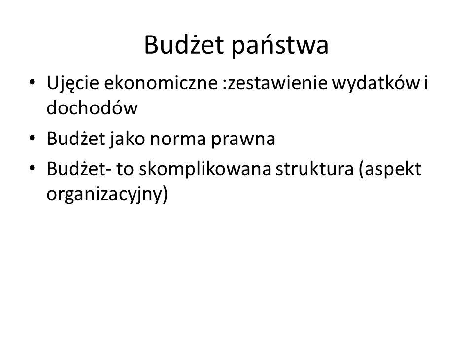 Budżet państwa Ujęcie ekonomiczne :zestawienie wydatków i dochodów Budżet jako norma prawna Budżet- to skomplikowana struktura (aspekt organizacyjny)
