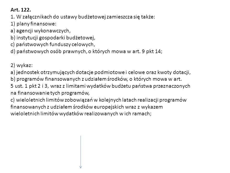 Art. 122. 1. W załącznikach do ustawy budżetowej zamieszcza się także: 1) plany finansowe: a) agencji wykonawczych, b) instytucji gospodarki budżetowe