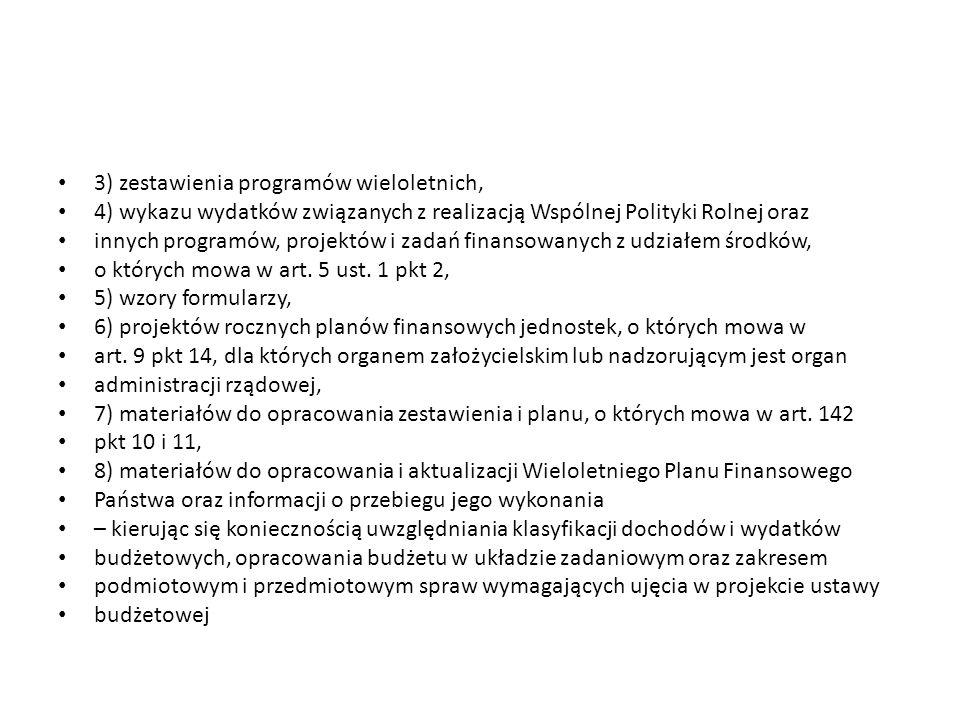 3) zestawienia programów wieloletnich, 4) wykazu wydatków związanych z realizacją Wspólnej Polityki Rolnej oraz innych programów, projektów i zadań finansowanych z udziałem środków, o których mowa w art.