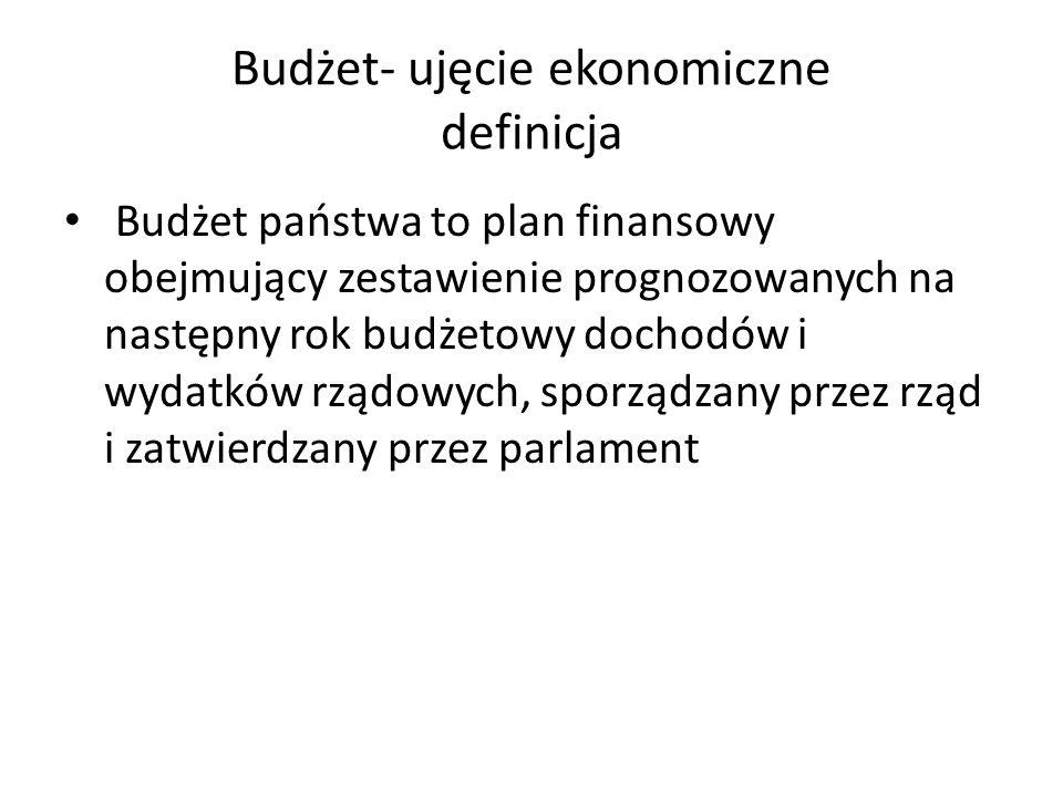 Budżet- ujęcie ekonomiczne definicja Budżet państwa to plan finansowy obejmujący zestawienie prognozowanych na następny rok budżetowy dochodów i wydat