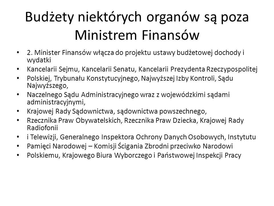 Budżety niektórych organów są poza Ministrem Finansów 2. Minister Finansów włącza do projektu ustawy budżetowej dochody i wydatki Kancelarii Sejmu, Ka