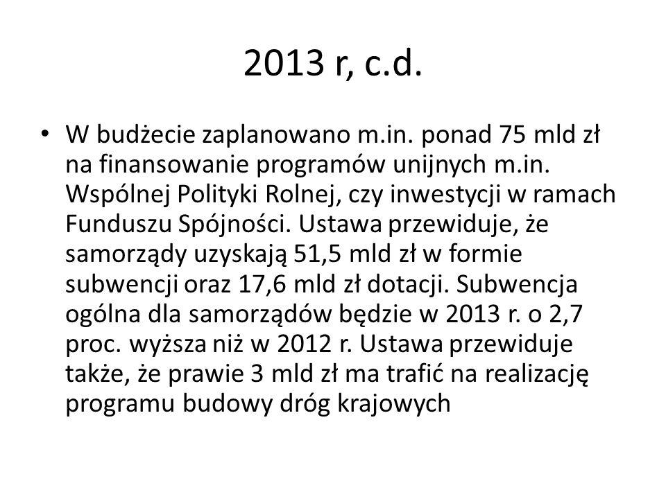 2013 r, c.d. W budżecie zaplanowano m.in. ponad 75 mld zł na finansowanie programów unijnych m.in. Wspólnej Polityki Rolnej, czy inwestycji w ramach F
