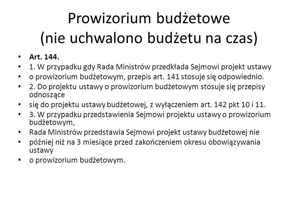 Prowizorium budżetowe (nie uchwalono budżetu na czas) Art. 144. 1. W przypadku gdy Rada Ministrów przedkłada Sejmowi projekt ustawy o prowizorium budż