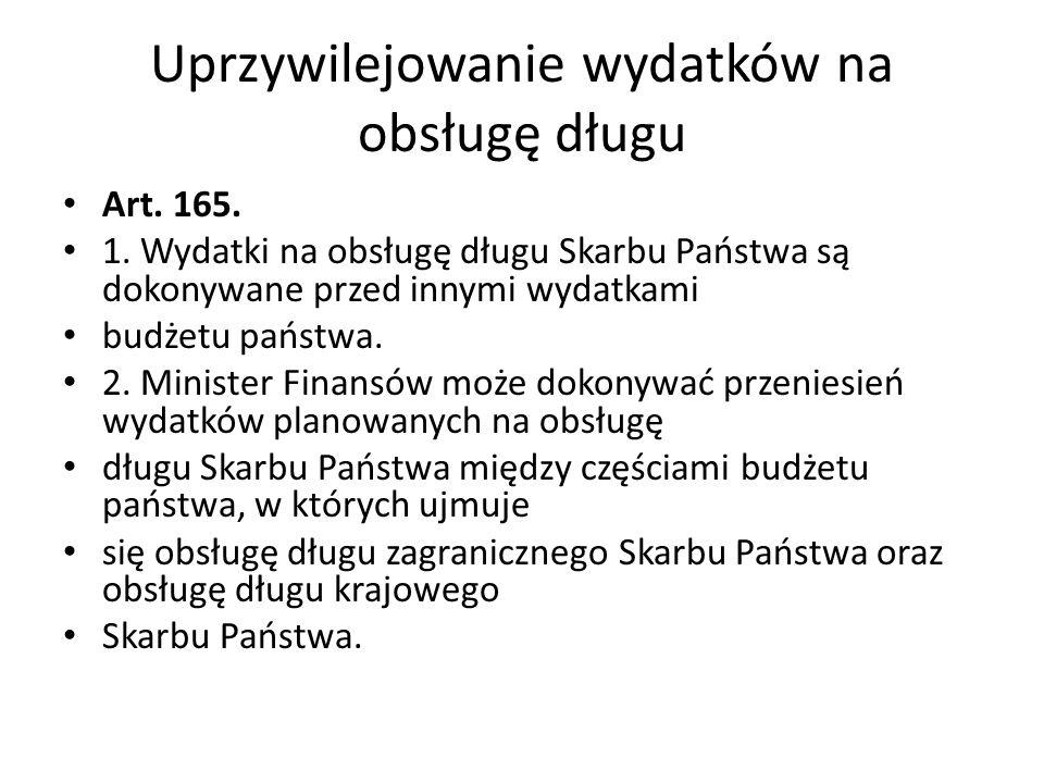 Uprzywilejowanie wydatków na obsługę długu Art. 165. 1. Wydatki na obsługę długu Skarbu Państwa są dokonywane przed innymi wydatkami budżetu państwa.