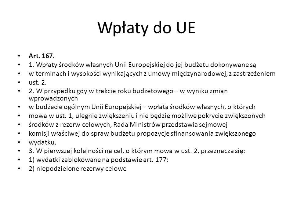 Wpłaty do UE Art. 167. 1. Wpłaty środków własnych Unii Europejskiej do jej budżetu dokonywane są w terminach i wysokości wynikających z umowy międzyna