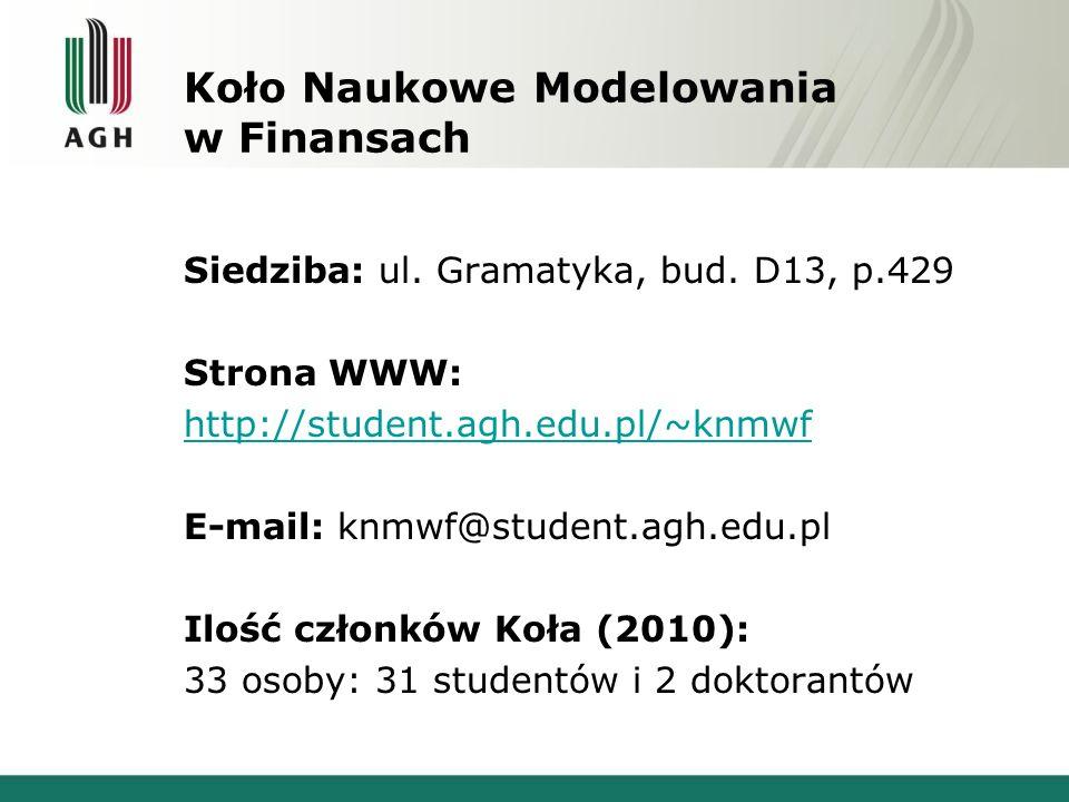 Koło Naukowe Modelowania w Finansach Siedziba: ul.