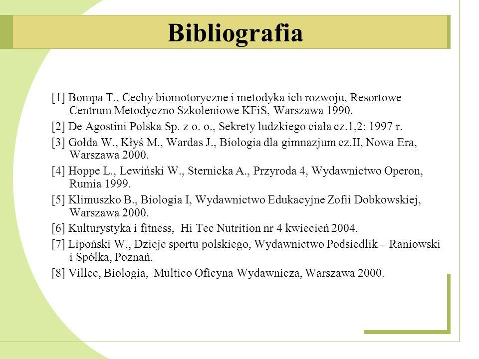 [1] Bompa T., Cechy biomotoryczne i metodyka ich rozwoju, Resortowe Centrum Metodyczno Szkoleniowe KFiS, Warszawa 1990. [2] De Agostini Polska Sp. z o