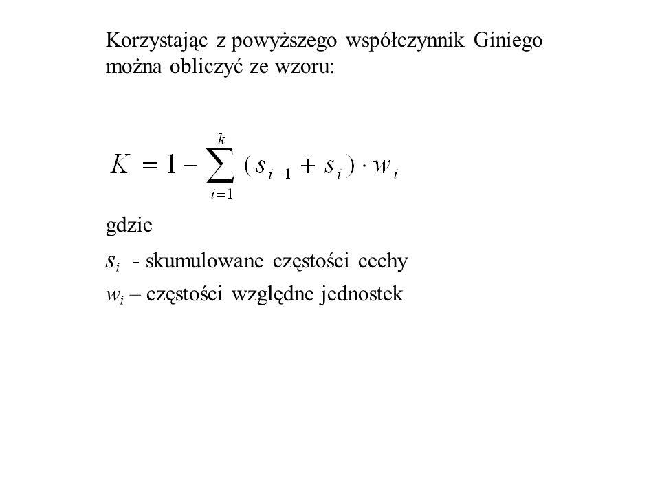 Korzystając z powyższego współczynnik Giniego można obliczyć ze wzoru: gdzie s i - skumulowane częstości cechy w i – częstości względne jednostek