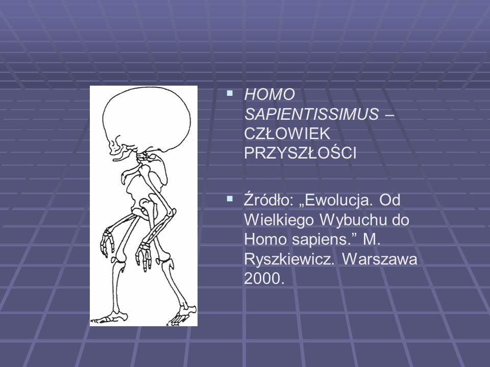 HOMO SAPIENTISSIMUS – CZŁOWIEK PRZYSZŁOŚCI Źródło: Ewolucja. Od Wielkiego Wybuchu do Homo sapiens. M. Ryszkiewicz. Warszawa 2000.