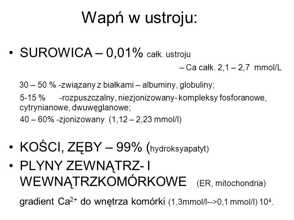Wapń w ustroju: SUROWICA – 0,01% całk. ustroju – Ca całk. 2,1 – 2,7 mmol/L 30 – 50 % -związany z białkami – albuminy, globuliny; 5-15 % -rozpuszczalny