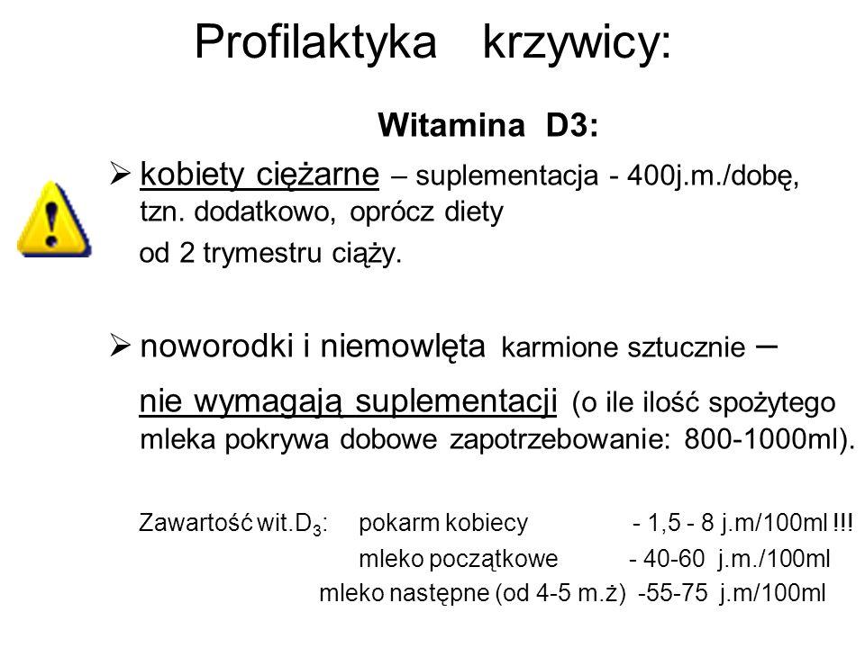 Profilaktyka krzywicy: Witamina D3: kobiety ciężarne – suplementacja - 400j.m./dobę, tzn. dodatkowo, oprócz diety od 2 trymestru ciąży. noworodki i ni