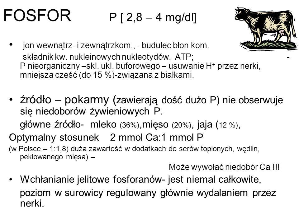 FOSFOR P [ 2,8 – 4 mg/dl] jon wewnątrz- i zewnątrzkom., - budulec błon kom. składnik kw. nukleinowych nukleotydów, ATP; - P nieorganiczny –skl. ukl. b