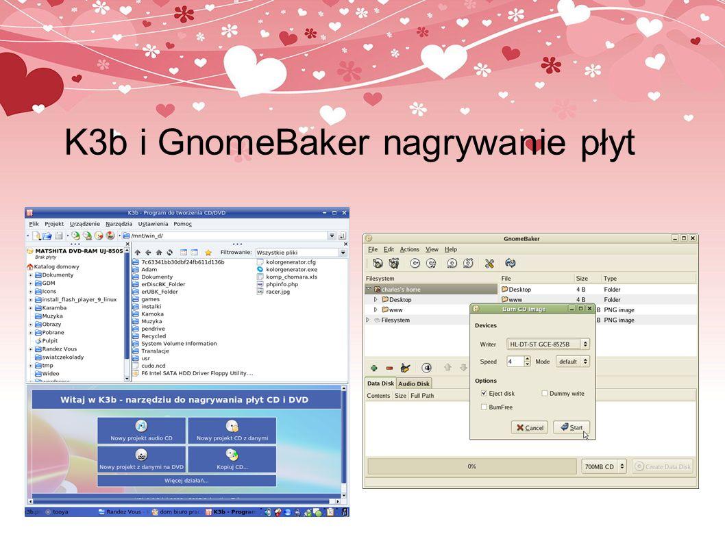 K3b i GnomeBaker nagrywanie płyt