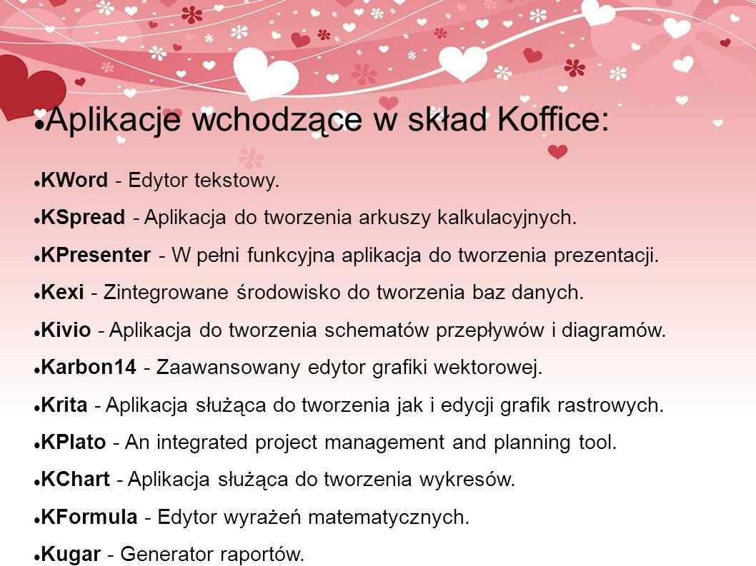Aplikacje wchodzące w skład Koffice: KWord - Edytor tekstowy. KSpread - Aplikacja do tworzenia arkuszy kalkulacyjnych. KPresenter - W pełni funkcyjna