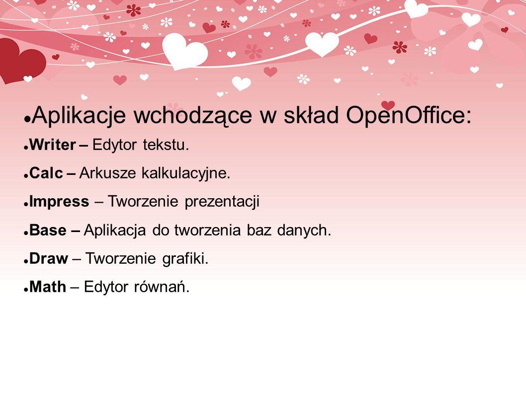 Aplikacje wchodzące w skład OpenOffice: Writer – Edytor tekstu. Calc – Arkusze kalkulacyjne. Impress – Tworzenie prezentacji Base – Aplikacja do tworz