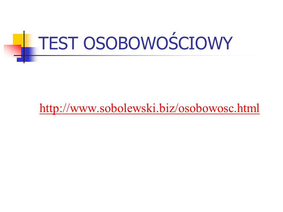 TEST OSOBOWOŚCIOWY http://www.sobolewski.biz/osobowosc.html