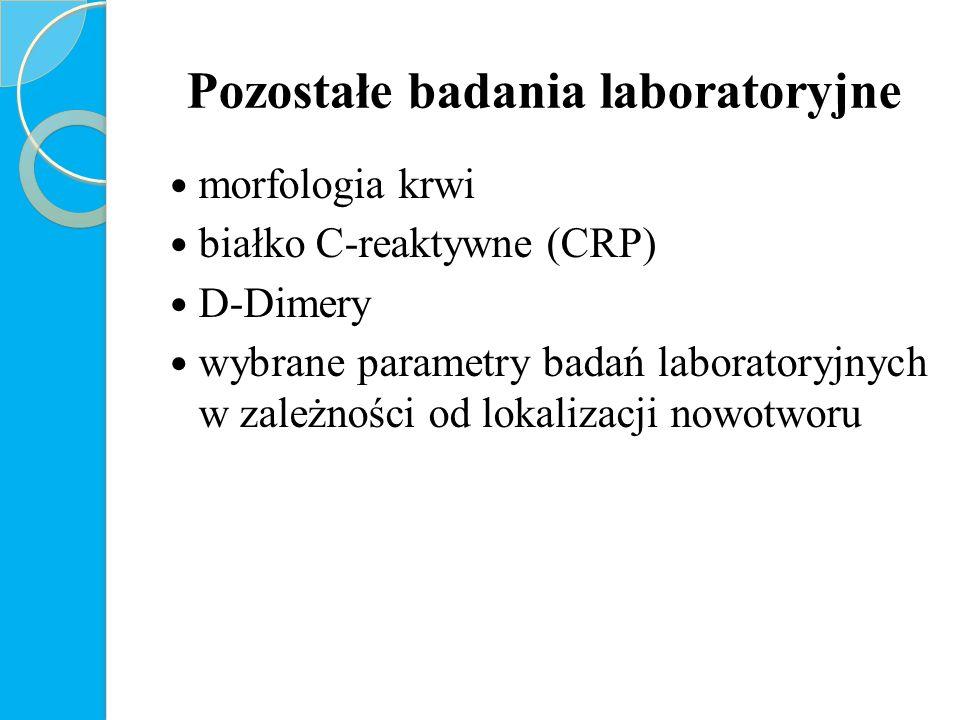 Pozostałe badania laboratoryjne morfologia krwi białko C-reaktywne (CRP) D-Dimery wybrane parametry badań laboratoryjnych w zależności od lokalizacji nowotworu