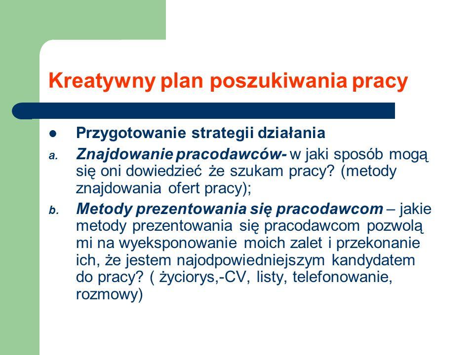 Kreatywny plan poszukiwania pracy Przygotowanie strategii działania a. Znajdowanie pracodawców- w jaki sposób mogą się oni dowiedzieć że szukam pracy?