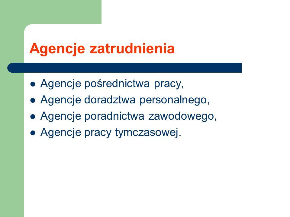 Agencje zatrudnienia Agencje pośrednictwa pracy, Agencje doradztwa personalnego, Agencje poradnictwa zawodowego, Agencje pracy tymczasowej.