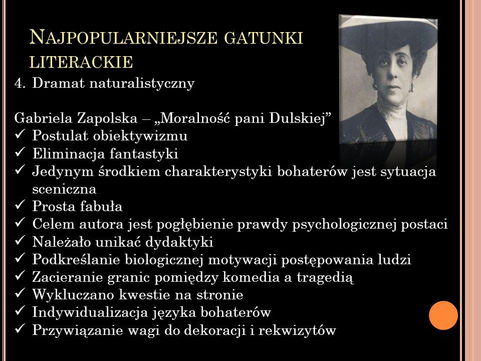 N AJPOPULARNIEJSZE GATUNKI LITERACKIE 4.Dramat naturalistyczny Gabriela Zapolska – Moralność pani Dulskiej Postulat obiektywizmu Eliminacja fantastyki