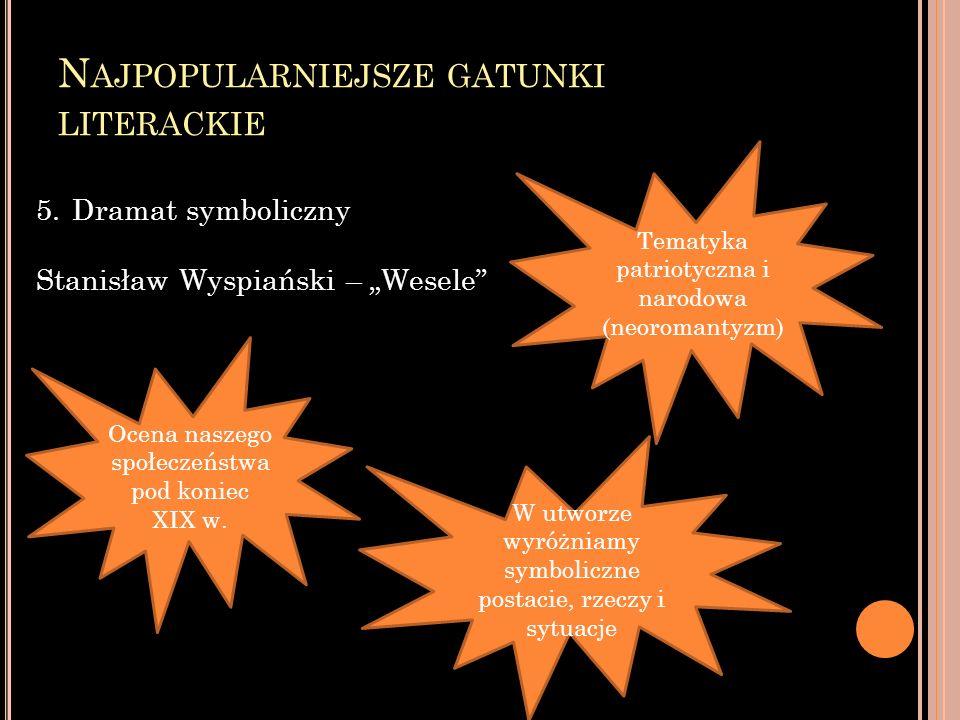 N AJPOPULARNIEJSZE GATUNKI LITERACKIE 5.Dramat symboliczny Stanisław Wyspiański – Wesele Ocena naszego społeczeństwa pod koniec XIX w.