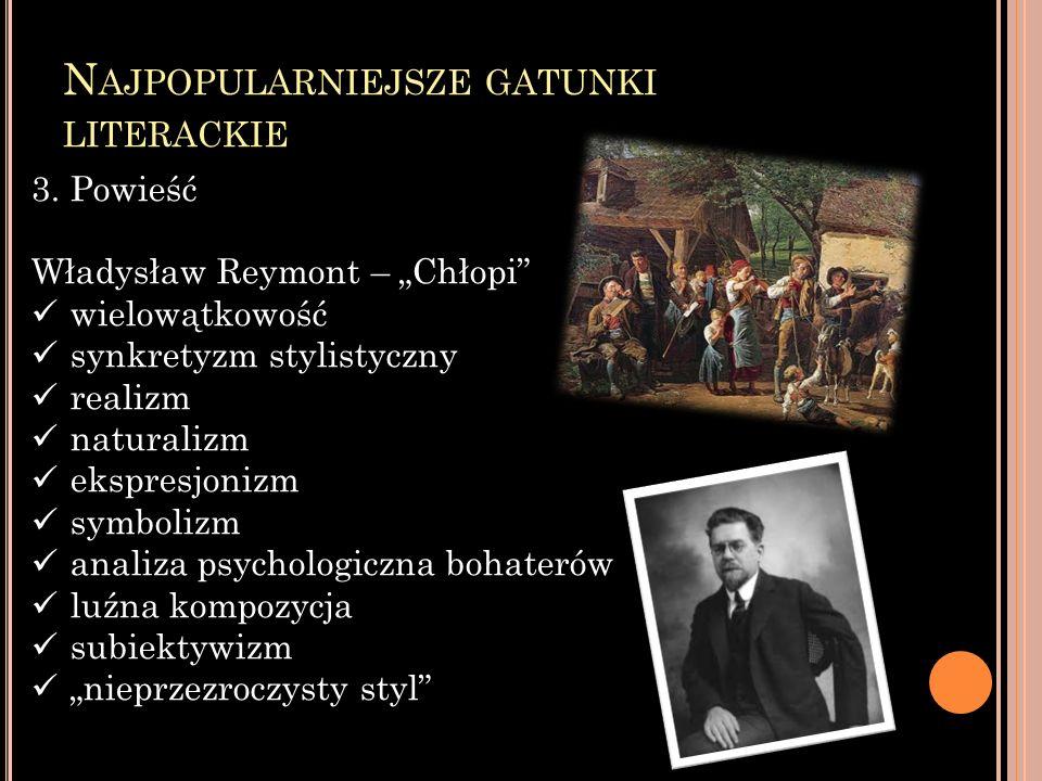 N AJPOPULARNIEJSZE GATUNKI LITERACKIE 3.Powieść Władysław Reymont – Chłopi wielowątkowość synkretyzm stylistyczny realizm naturalizm ekspresjonizm sym