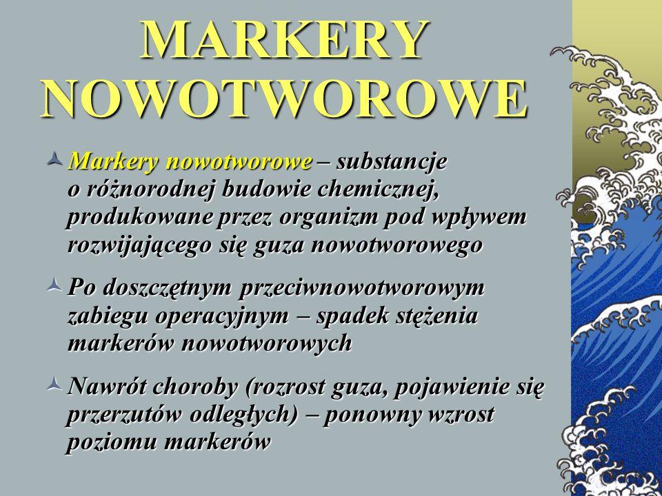 MARKERY NOWOTWOROWE Markery nowotworowe – substancje o różnorodnej budowie chemicznej, produkowane przez organizm pod wpływem rozwijającego się guza n