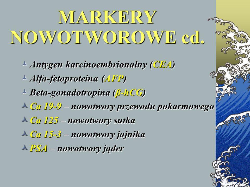 MARKERY NOWOTWOROWE cd. Antygen karcinoembrionalny (CEA) Antygen karcinoembrionalny (CEA) Alfa-fetoproteina (AFP) Alfa-fetoproteina (AFP) Beta-gonadot