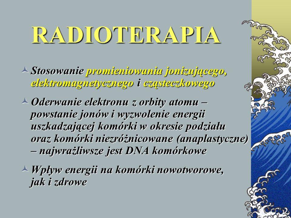 RADIOTERAPIA Stosowanie promieniowania jonizującego, elektromagnetycznego i cząsteczkowego Stosowanie promieniowania jonizującego, elektromagnetyczneg