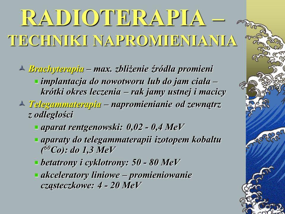 RADIOTERAPIA – TECHNIKI NAPROMIENIANIA Brachyterapia – max. zbliżenie źródła promieni Brachyterapia – max. zbliżenie źródła promieni implantacja do no
