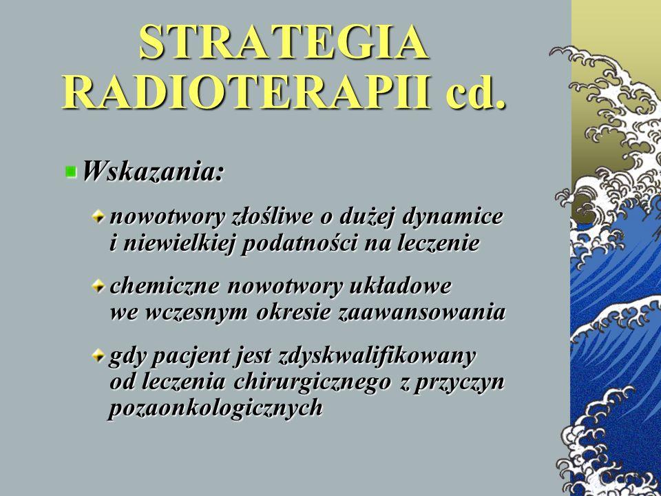 STRATEGIA RADIOTERAPII cd. Wskazania: nowotwory złośliwe o dużej dynamice i niewielkiej podatności na leczenie chemiczne nowotwory układowe we wczesny