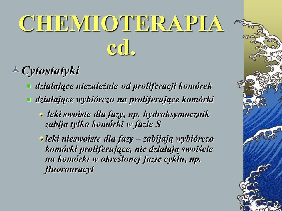 CHEMIOTERAPIA cd. Cytostatyki Cytostatyki działające niezależnie od proliferacji komórek działające niezależnie od proliferacji komórek działające wyb