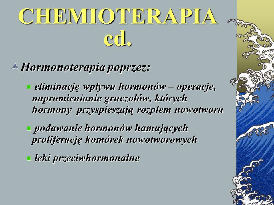 CHEMIOTERAPIA cd. Hormonoterapia poprzez: Hormonoterapia poprzez: eliminację wpływu hormonów – operacje, napromienianie gruczołów, których hormony prz