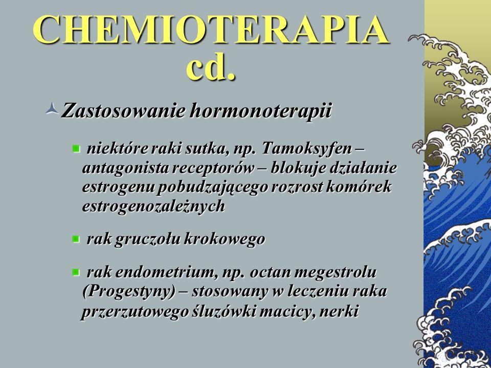 Zastosowanie hormonoterapii Zastosowanie hormonoterapii niektóre raki sutka, np. Tamoksyfen – antagonista receptorów – blokuje działanie estrogenu pob