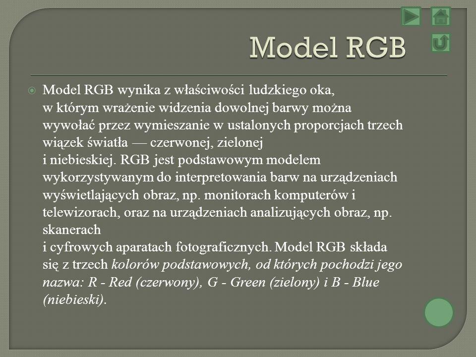 Model RGB wynika z właściwości ludzkiego oka, w którym wrażenie widzenia dowolnej barwy można wywołać przez wymieszanie w ustalonych proporcjach trzec