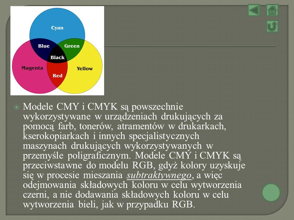 Modele CMY i CMYK są powszechnie wykorzystywane w urządzeniach drukujących za pomocą farb, tonerów, atramentów w drukarkach, kserokopiarkach i innych