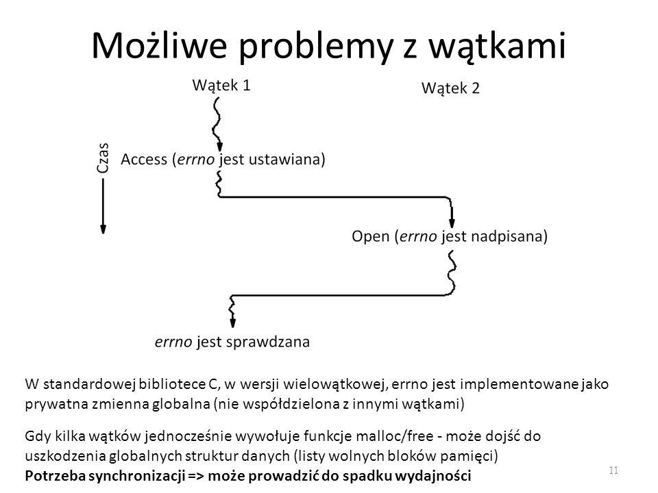 Możliwe problemy z wątkami 11 W standardowej bibliotece C, w wersji wielowątkowej, errno jest implementowane jako prywatna zmienna globalna (nie współ