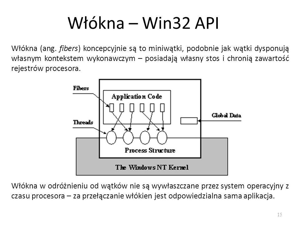 Włókna – Win32 API 15 Włókna (ang. fibers) koncepcyjnie są to miniwątki, podobnie jak wątki dysponują własnym kontekstem wykonawczym – posiadają własn