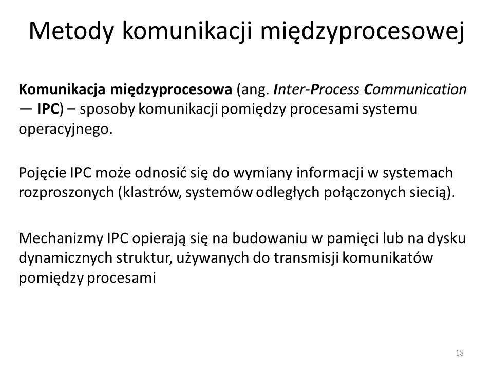 Metody komunikacji międzyprocesowej 18 Komunikacja międzyprocesowa (ang. Inter-Process Communication IPC) – sposoby komunikacji pomiędzy procesami sys