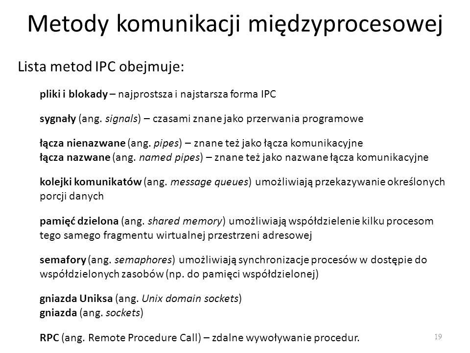 Metody komunikacji międzyprocesowej 19 pliki i blokady – najprostsza i najstarsza forma IPC Lista metod IPC obejmuje: sygnały (ang. signals) – czasami