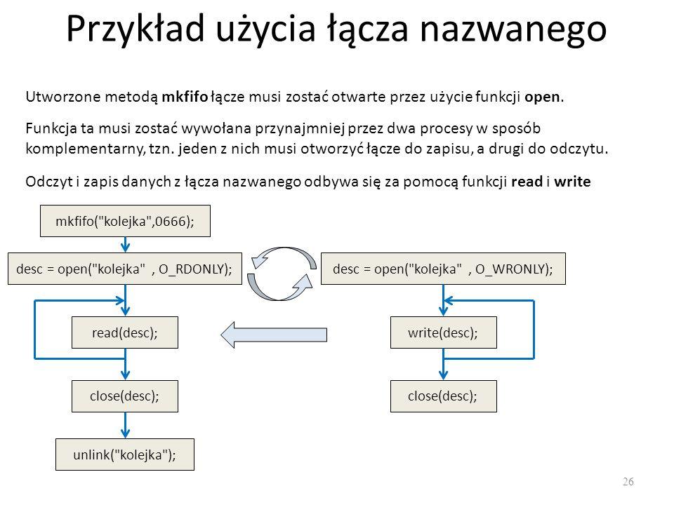 Przykład użycia łącza nazwanego 26 Utworzone metodą mkfifo łącze musi zostać otwarte przez użycie funkcji open. Funkcja ta musi zostać wywołana przyna