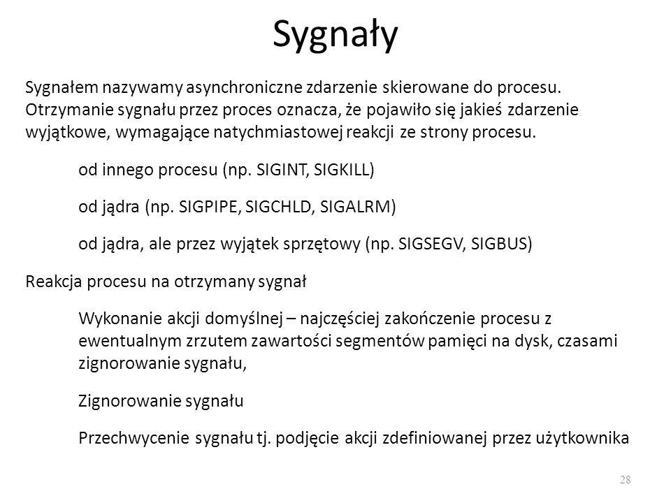 Sygnały 28 Sygnałem nazywamy asynchroniczne zdarzenie skierowane do procesu. Otrzymanie sygnału przez proces oznacza, że pojawiło się jakieś zdarzenie